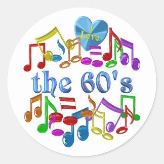Sticker Rond J'aime les années 60