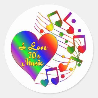 Sticker Rond J'aime les années 70 la musique