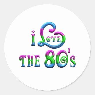 Sticker Rond J'aime les années 80