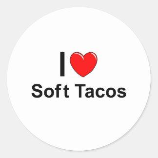Sticker Rond J'aime les tacos mous de coeur