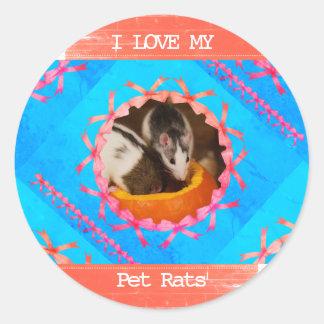 Sticker Rond J'aime ma photo de rats d'animal familier