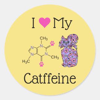 Sticker Rond J'aime mon chat pourpre mignon de caféine de