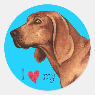 Sticker Rond J'aime mon Coonhound de Redbone