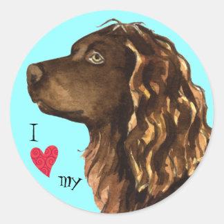 Sticker Rond J'aime mon épagneul de Boykin