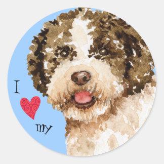 Sticker Rond J'aime mon Lagotto