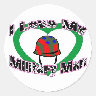 Sticker Rond J'aime mon militaire