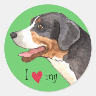 Sticker Rond J'aime mon plus grand chien suisse de montagne
