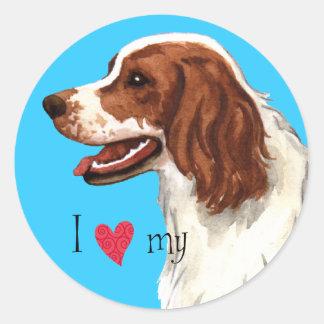 Sticker Rond J'aime mon poseur rouge et blanc irlandais