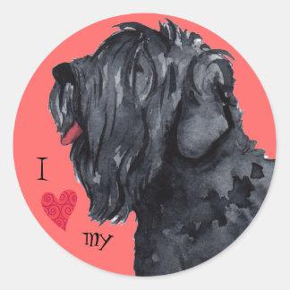 Sticker Rond J'aime mon russe noir Terrier