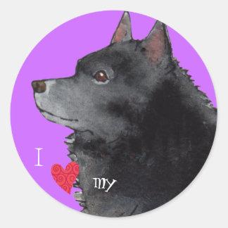 Sticker Rond J'aime mon Schipperke