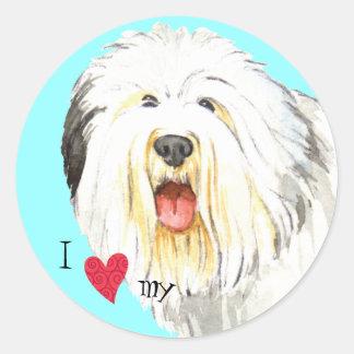 Sticker Rond J'aime mon vieux chien de berger anglais