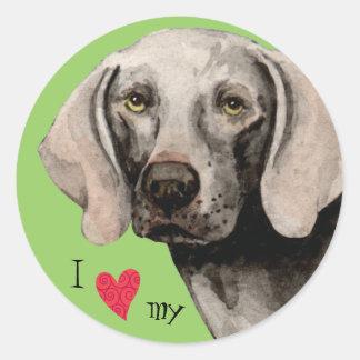Sticker Rond J'aime mon Weimaraner