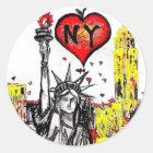 Sticker Rond J'aime NY