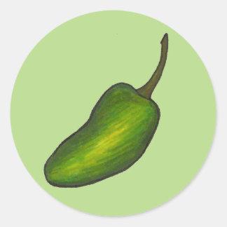 Sticker Rond Jalapenos verts chauds épicés de poivre de