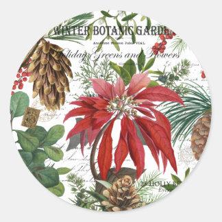 Sticker Rond Jardin d'hiver vintage moderne floral