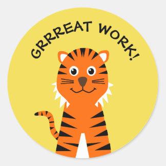 Sticker Rond Jaune de professeurs de tigre fait par bien
