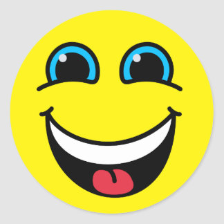 Sticker Rond Jaune souriant riant de visage