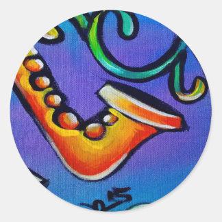 Sticker Rond Jazz et tambours