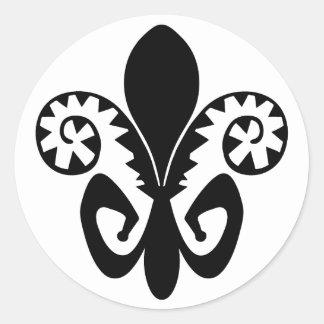 Sticker Rond Jazz Fleur de lis (noir)
