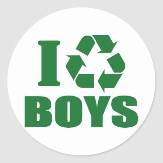Sticker Rond Je réutilise des garçons