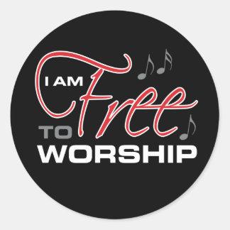 Sticker Rond Je suis libre pour adorer - Osteen
