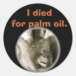Sticker Rond Je suis mort pour la faune Indonésie d'huile de