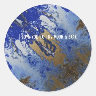 Sticker Rond Je t'aime à la lune