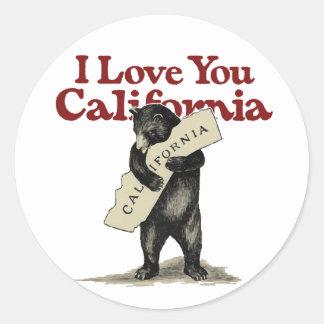 Sticker Rond Je t'aime la Californie