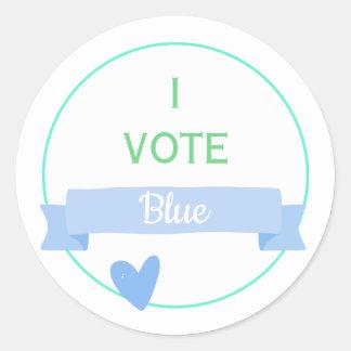 Sticker Rond JE VOTE le genre de baby shower du BLEU   indique