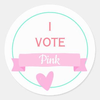 Sticker Rond JE VOTE le genre de baby shower du ROSE   indique