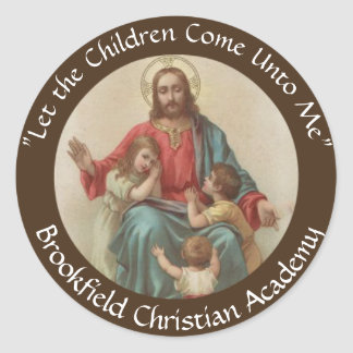 Sticker Rond Jésus avec le chrétien Homeschool d'enfants