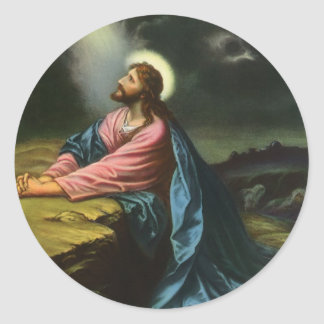Sticker Rond Jésus-Christ vintage priant dans Gethsemane