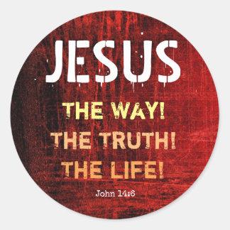 Sticker Rond Jésus la manière la vérité le 14:6 de John de la