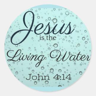 Sticker Rond Jésus l'eau vivante