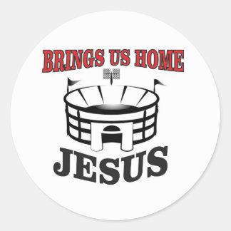 Sticker Rond Jésus nous amène à la maison