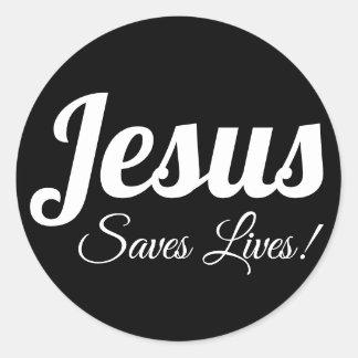 Sticker Rond Jésus sauve les vies