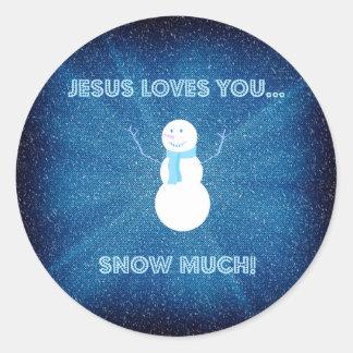 Sticker Rond Jésus vous aime neigent beaucoup ! Bleu chrétien