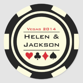 Sticker Rond Jeton de poker noir et blanc