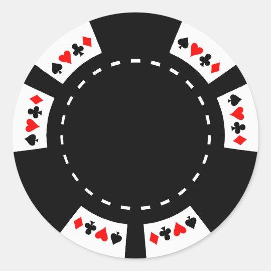 sticker rond jeton de poker noir et blanc. Black Bedroom Furniture Sets. Home Design Ideas