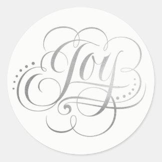 Sticker Rond Joie à la calligraphie d'aluminium argenté du