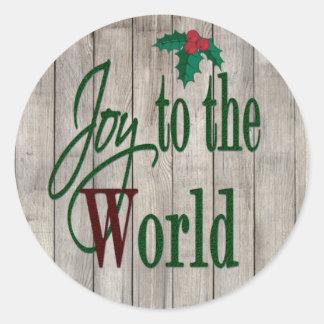 Sticker Rond Joie à Noël de pays du monde