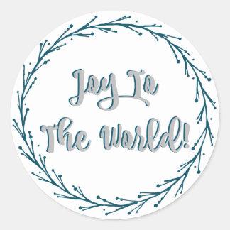Sticker Rond Joie turquoise de guirlande de brindilles à Noël