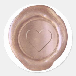 Sticker Rond Joint de cire de Faux - or rose - coeur