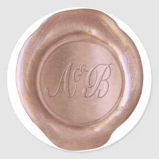 Sticker Rond Joint de cire de Faux - or rose - coutume d'A&B