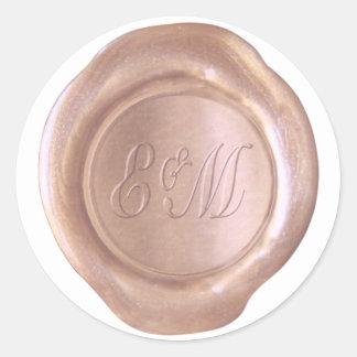 Sticker Rond Joint de cire de Faux - or rose - E&M_Custom