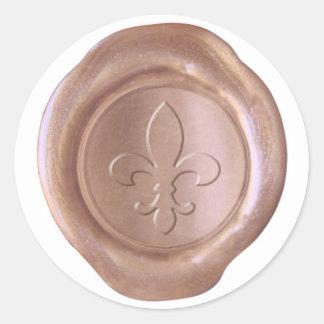 Sticker Rond Joint de cire de Faux - or rose - Fleur De Lis