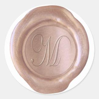 Sticker Rond Joint de cire de Faux - or rose - manuscrit M