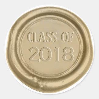 Sticker Rond Joint de cire d'or de monogramme d'obtention du