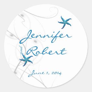 Sticker Rond Joint de corail bleu d'enveloppe d'étoiles de mer