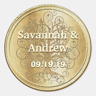 Sticker Rond Joint de mariage d'or d'arbre de remous d'or jaune